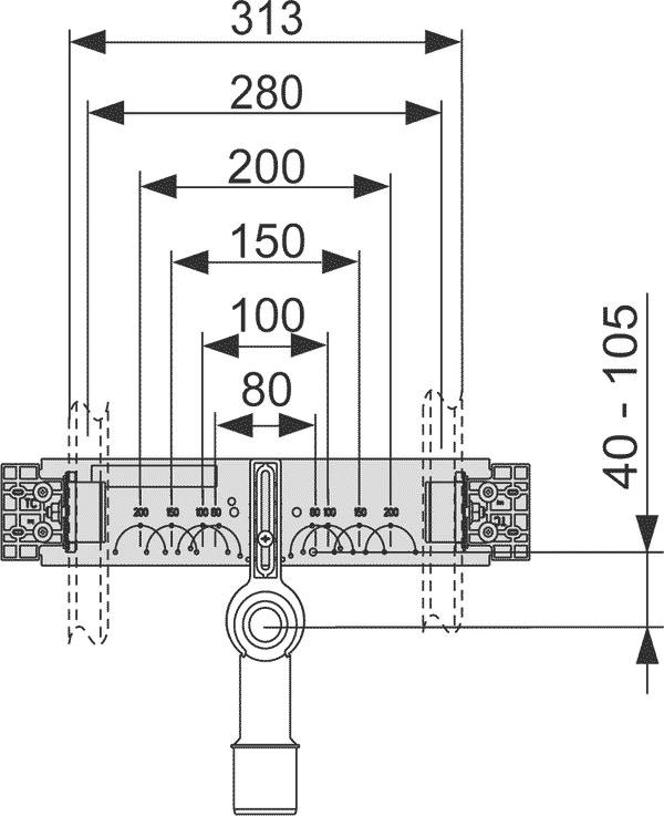 Геометрические размеры монтажного комплекта TECEprofil для раковины 9020033