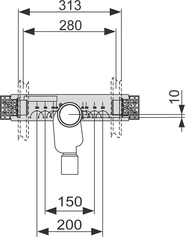 Геометрические размеры монтажный комплект TECEprofil со встроенным сифоном для раковины 9020034