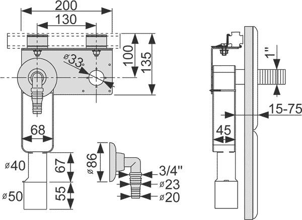 Геометрические размеры монтажного комплекта TECEprofil для стиральной машины 9020036