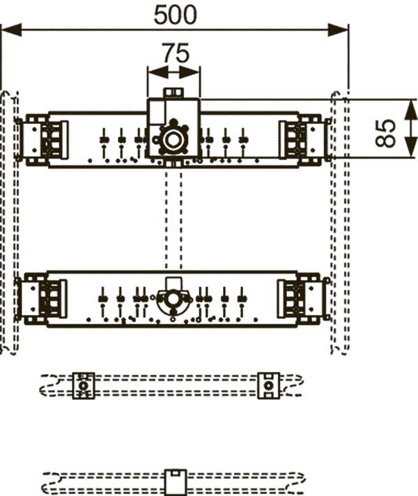 Геометрические размеры монтажного комплекта TECEprofil для писсуара со сливным клапаном 9020038