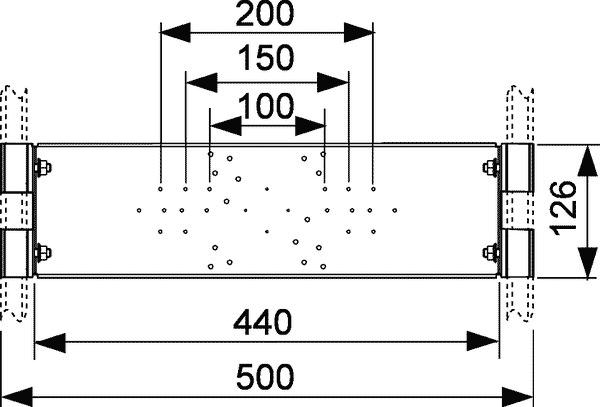 Геометрические размеры монтажной пластины TECEprofil для фитингов для установки в профиль 9020040