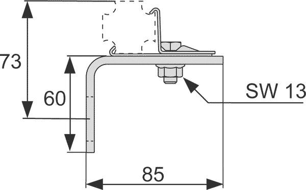 Геометрические размеры одинарного крепления TECEprofil 9030002