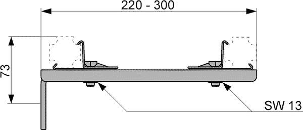 Геометрические размеры удлиненного двойного крепления TECEprofil 9030013
