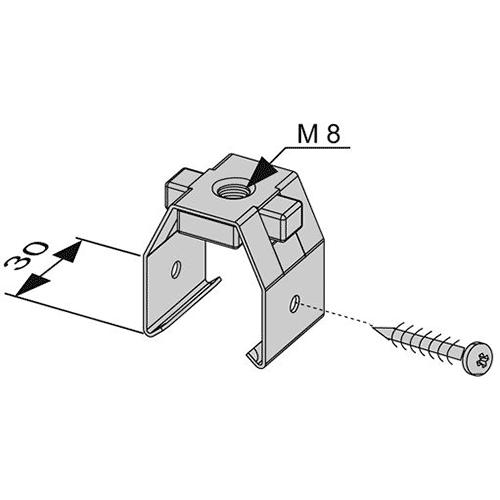 Геометрические размеры установочного элемента TECEprofil с резьбой М8 9040004
