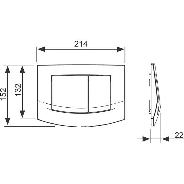 Габаритные и присоединительные размеры панели смыва TECEambia 9240200