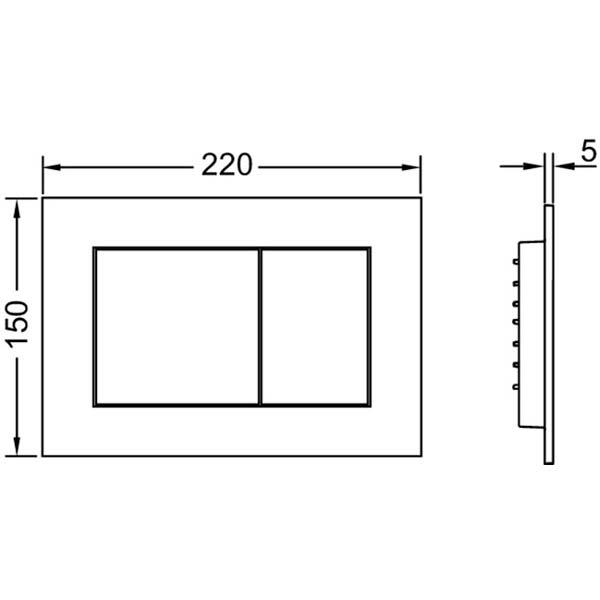 Габаритные и присоединительные размеры панели смыва TECEnow 9240400