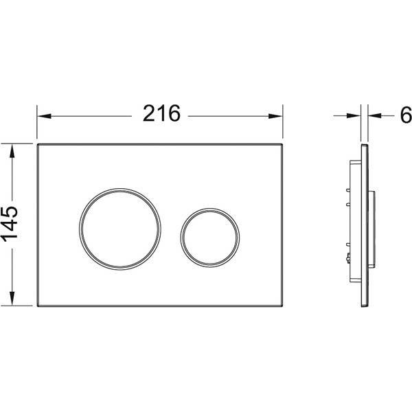 Габаритные и присоединительные размеры панели смыва TECEloop 9240600