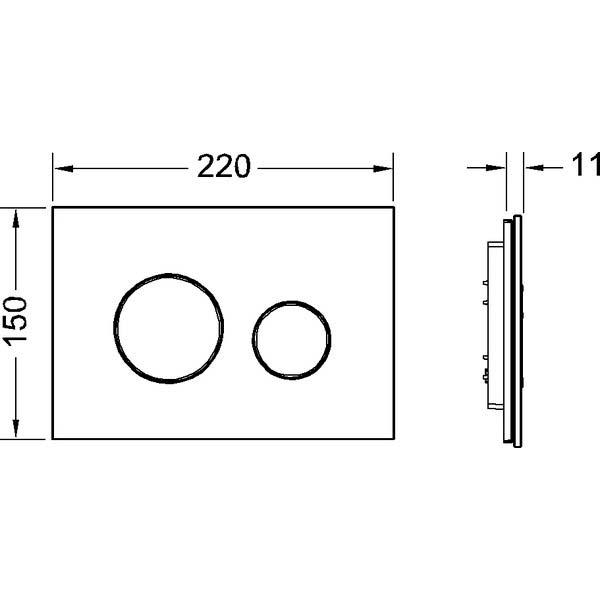 Габаритные и присоединительные размеры панели смыва TECEloop 9240659