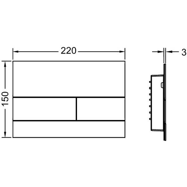 Габаритные и присоединительные размеры панели смыва TECEsquare II 9240830
