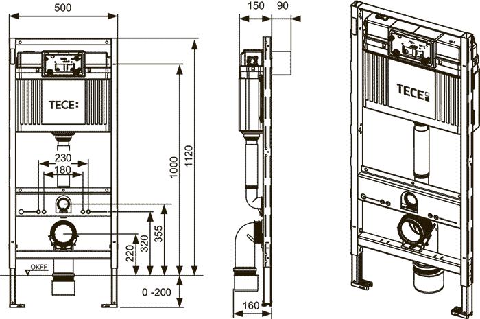 Габаритные и присоединительные размеры застенный модуль для установки подвесного унитаза 9300000