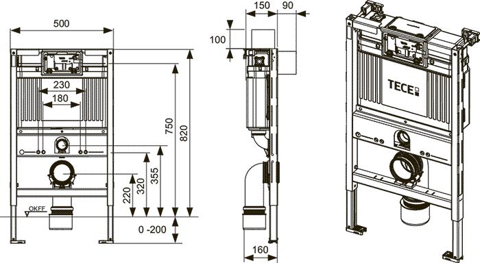 Габаритные и присоединительные размеры застенный модуль для установки подвесного унитаза 9300001