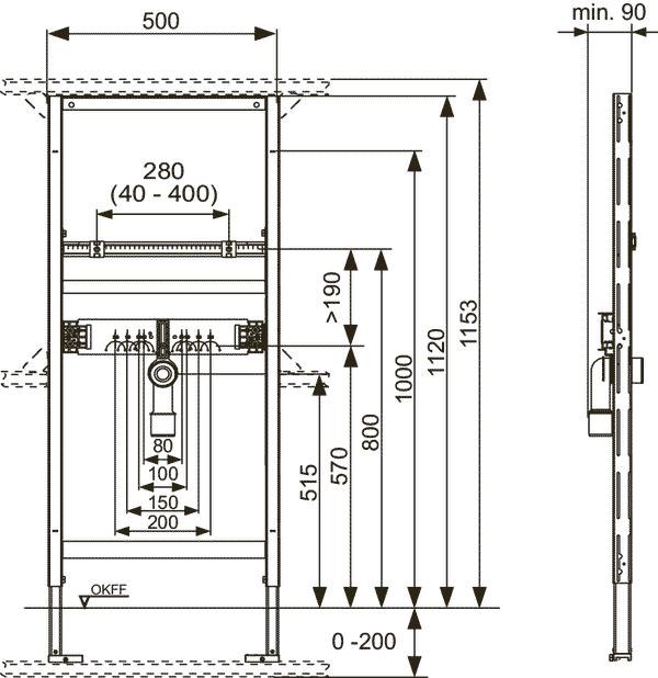 Габаритные и присоединительные размеры застенный модуль для установки раковины 9310000
