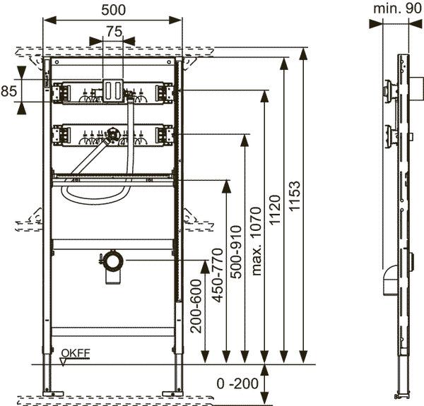 Габаритные и присоединительные размеры застенный модуль для установки писсуара 9320008