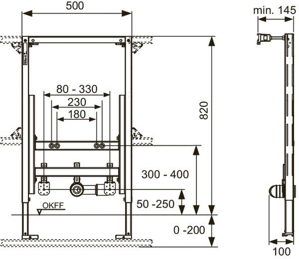 Габаритные и присоединительные размеры застенный модуль для установки биде 9330005