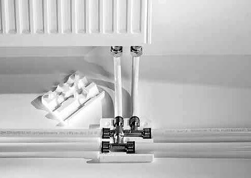 Подключение радиатора с использованием двойного тройника Tece