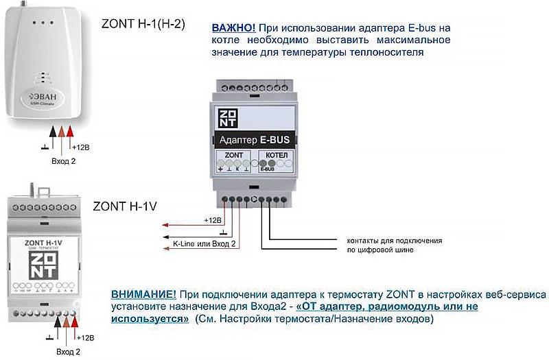 Адаптер Zont E-BUS схема подключения