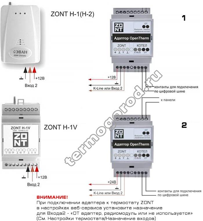 Схема подключения интерфейса Zont OpenTherm V 2.2