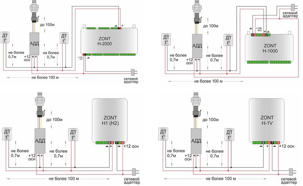 Схема подключения адаптера датчика давления к оборудованию Zont