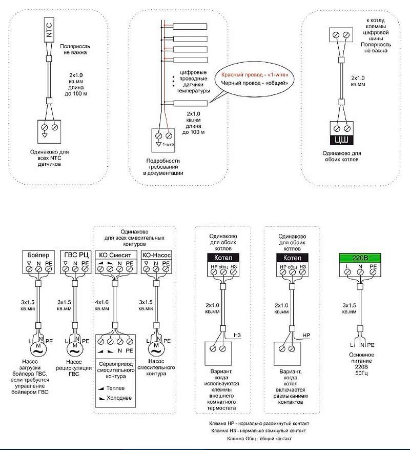 Монтажные схемы подключения Zont Climatic Optima