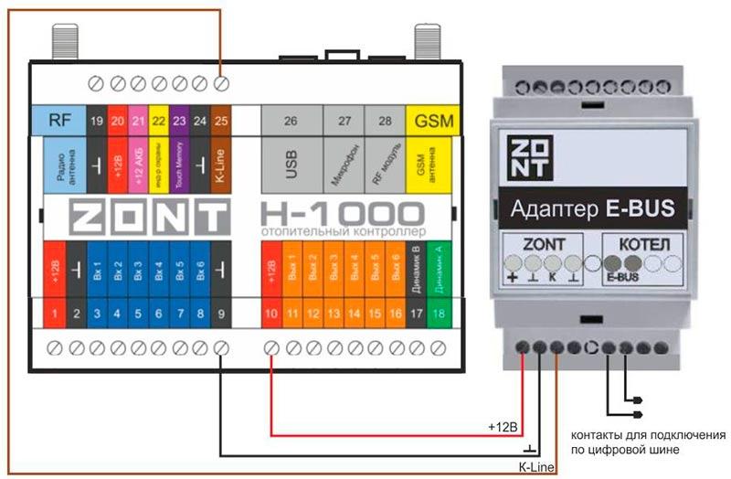 Схема подключения интерфейса Zont E-BUS