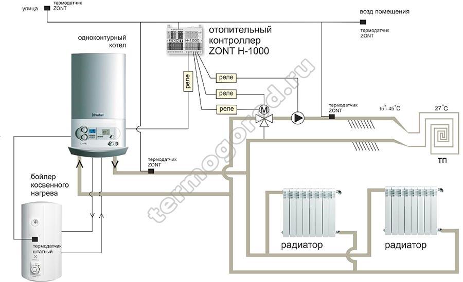 Схема подключения контроллера Zont h-1000