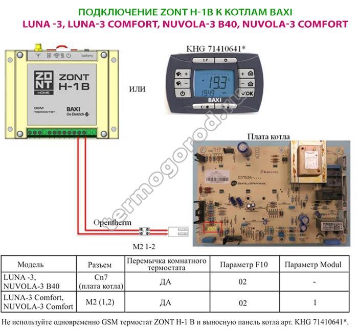 Схема подключения Zont H-1B к котлам BAXI Luna, Nuvola