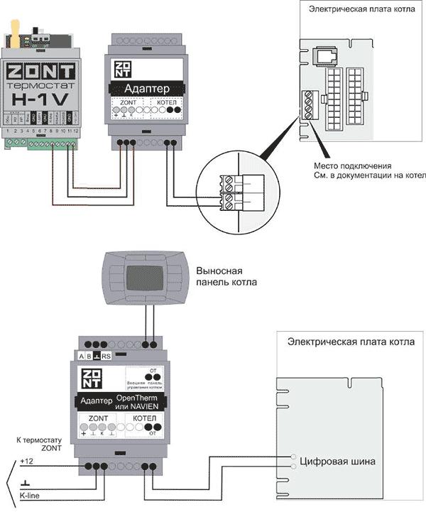 Zont H-1V.01 Подключение к отопительному котлу по цифровой шине