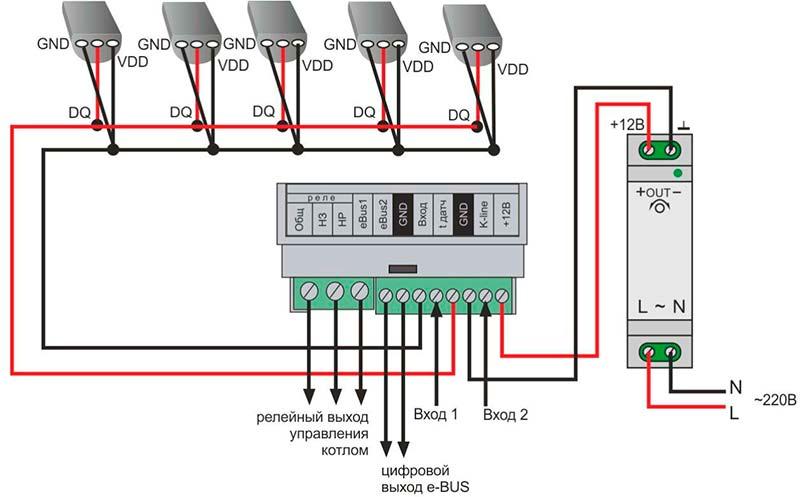 Подключение датчиков температуры Zont H-1V E-BUS