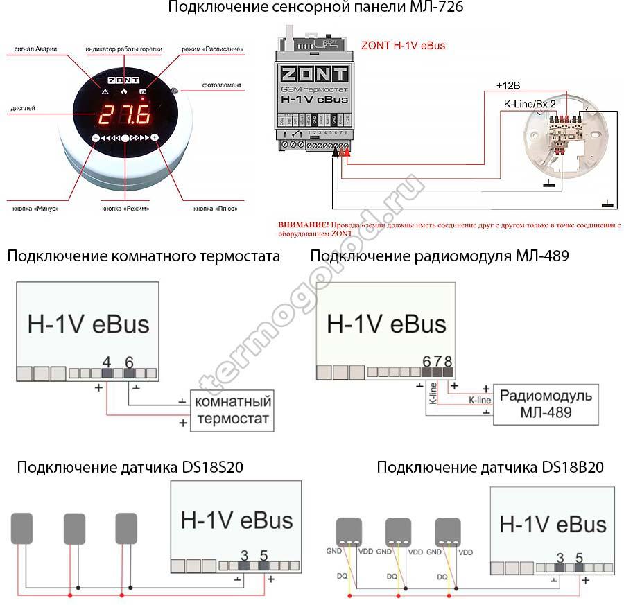 Подключение датчиков температуры и назначение датчиков Zont H-1V E-BUS