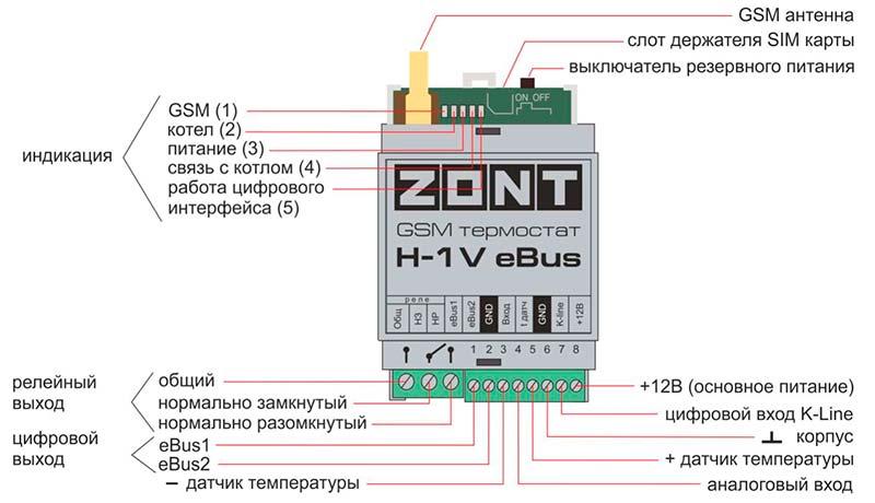 Назначение контактов, выключателей и индикаторов Zont H-1V E-BUS