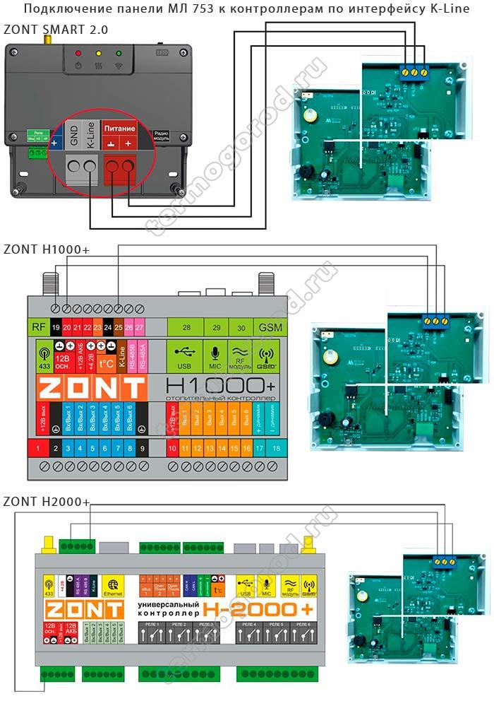 Схемы подключения панели МЛ-753 к контроллерам ZONT по интерфейсу K-line