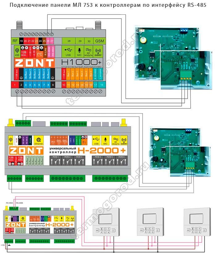 Схемы подключения панели МЛ-753 к контроллерам ZONT по интерфейсу RS-485