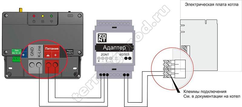 zont smart 2.0 подключение адаптера цифровой шины